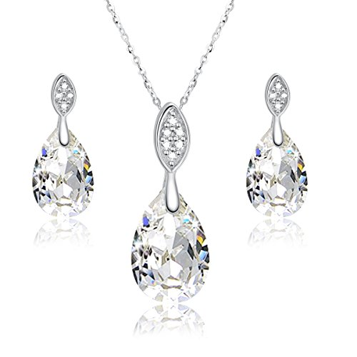 Eternity Hoop Pierced Earrings - Sreema London 925 Sterling Silver Teardrop Jewellery Set - Drop Earrings and Pendant Necklace