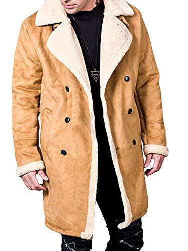 - Runcati Mens Faux Leather Suede Pea Coats Sherpa Winter Shearling Long Jackets Fleece Faux Fur Cozy Fuzzy Trench Overcoats Brown