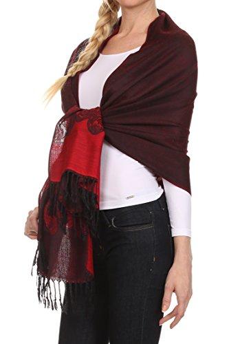 Sakkas CHS1510 - Aubry dual colored ranunculus border soft Pashmina/ Shawl/ Wrap/ Stole - Red - OS