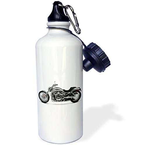 Water Bottle Motorcycle (3dRose wb_4492_1 Picturing Harley-Davidson174; Motorcycle Water Bottle, White)