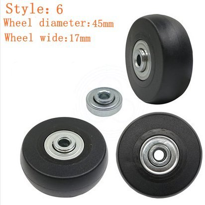 1 Pair Luggage Suitcase Replacement Rubber Wheels (Style 6, 45mmx17mm)