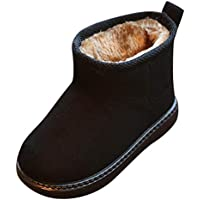 Coper Winter Martin Boots, Baby Boys Girls' Flock Moccasins Casual Snow Shoes (Black, US:6)