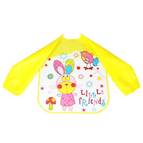 Baby Girls Boys Bibs, VEKDONE Baby Toddler Kids Boys Girls Long Sleeve Waterproof Feeding Art Apron Bibs (C)
