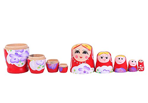 niceEshop(TM) Set of 5 Cutie Nesting Dolls Matryoshka Madness Russian Doll +niceEshop Cable Tie