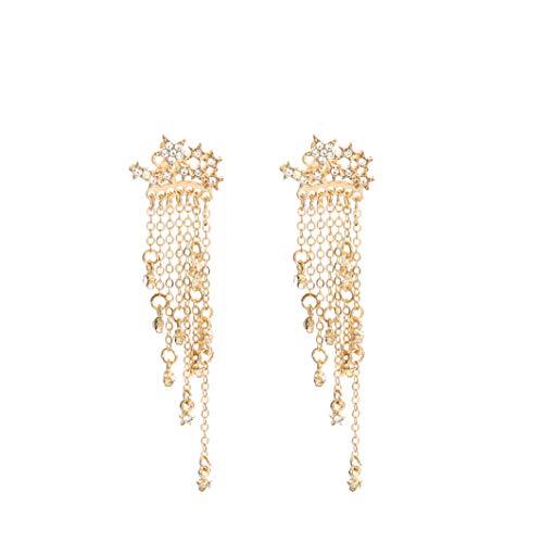 JUESJ Shooting Star Long Tassel Dangle Earring for Women Girls (Gold)