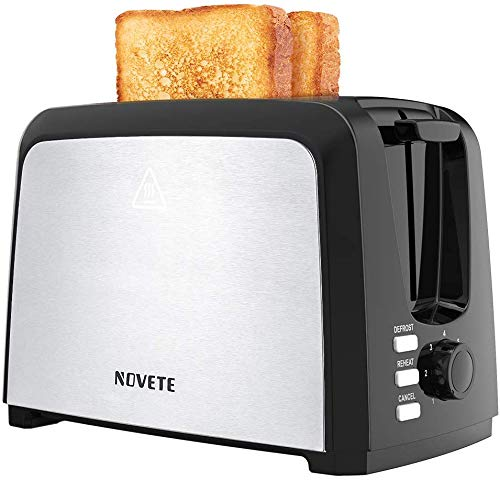 Toaster 2 Slice, NOVETE Stainless Steel Toaster with Wide Slot, 7 Shade Settings, Removable Crumb Tray, Compact Toaster…