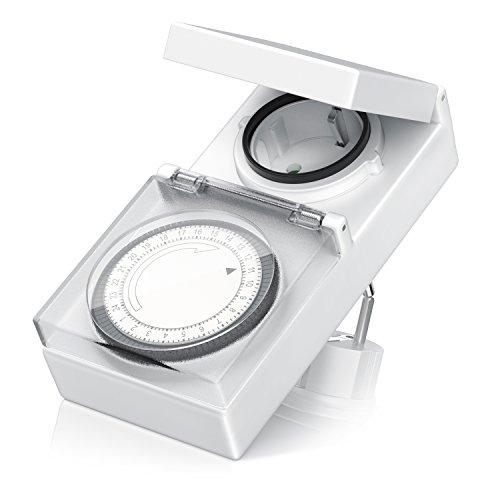 Arendo - mechanische Zeitschaltuhr Outdoor   96 Schaltsegmente   Schieberegler für Zeitangabe   3680W   IP 44 Schutzart (Outdoor)   spritzwassergeschützt   Kinderschutzsicherung