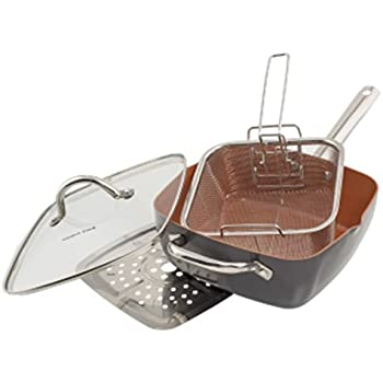Amazon Com 4 Pc Deep Square Copper Cookware Pan Set 6 In