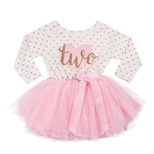Grace & Lucille 2nd Birthday Dress (Long Sleeve) (2T, Pink Polka Dot Long Sleeve, Flat Heart Gold)