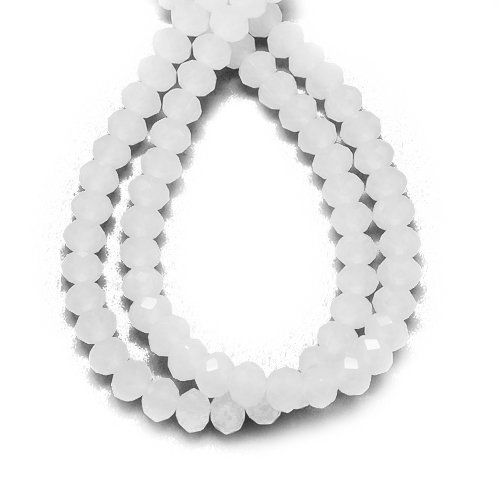 Faceted Rondelle Czech Glass Beads - 70+ White Czech Crystal Opaque Glass 6 x 8mm Faceted Rondelle Beads HA20350 (Charming Beads)