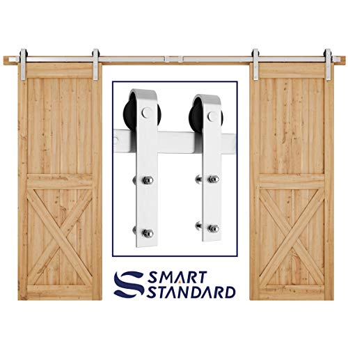 SMARTSTANDARD 10FT Heavy Duty Double Gate Sliding Barn Door Hardware Kit, Two-Piece Track Rails, Stainless Steel, Smoothly and Quietly, Easy to Install, Fit 30 Wide DoorPanel (J Shape Hangers)