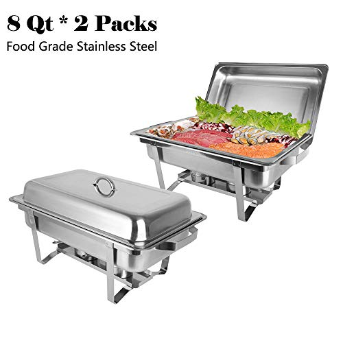 2Pcs. Food tray Grade Stainless Steel Rectangle Suitable for Occasions Kitchen, Hotel, Wedding, Party, Picnic, Banquet, Restaurant Food Service Buffet Catering Accessories Home Garden Dining Bar
