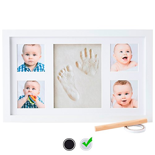 Baby-Handprint-Kit-by-Little-Hippo-NO-MOLD-Baby-Picture-Frame-WHITE-Non-Toxic-CLAY-Personlized-baby-gifts-Baby-gifts-for-newborn-boys-Baby-gifts-for-newborn-girls
