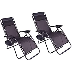 Polar Aurora Zero Gravity Chairs Recliner Lounge Patio Chairs Folding Cup Holder 2 pack(Black)