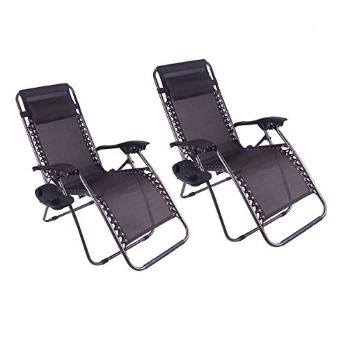 Polar Aurora Zero Gravity Chairs Recliner Lounge Patio Chairs Folding Cup Holder 2 Pack(Black) ()