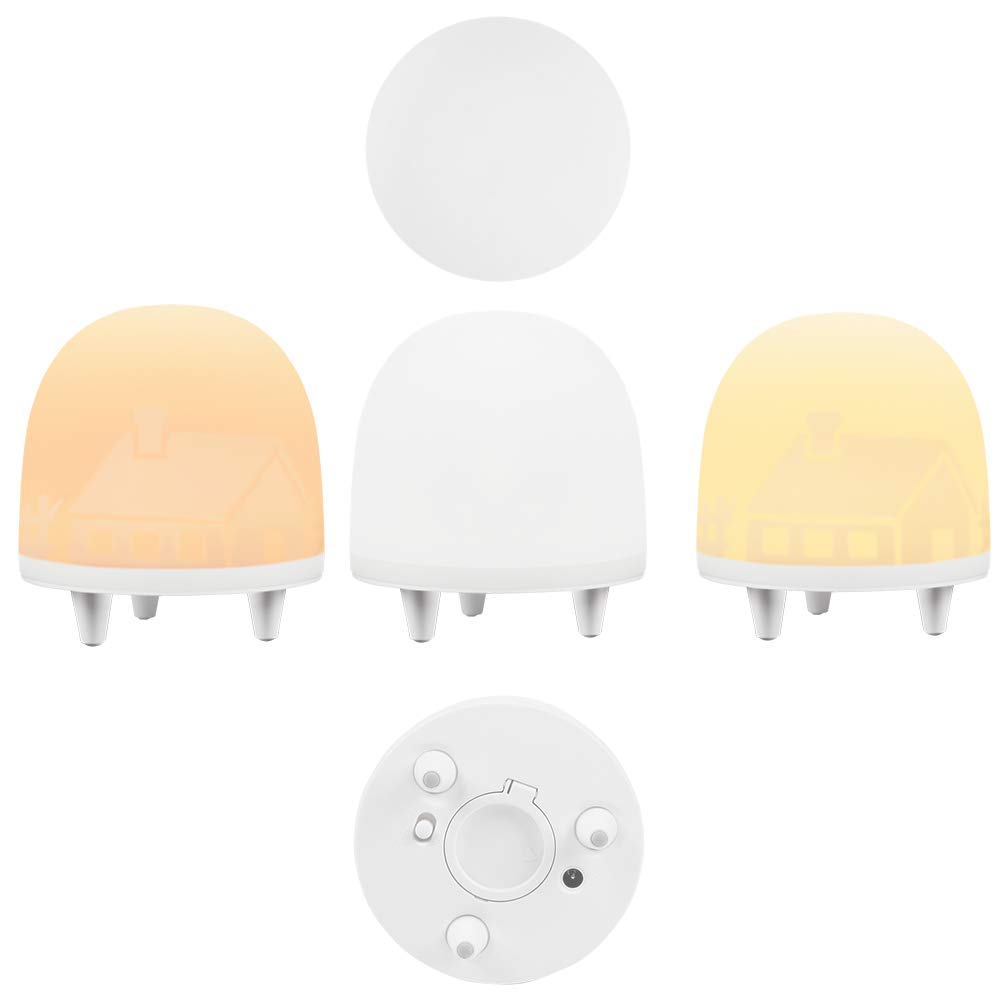 LED Night Light, Smart Nursery Lamp for Kids with Touch Control, USB Rechargeable, Portable Dimmable Mood Light and Auto-Off Sleep Timing Function, 3 Modes, Warm White Light + RGB Colour Changing