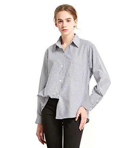 Vatee's Women's Fashion Long Sleeves Button-Down Casual Stripped Cotton Shirt Blue M