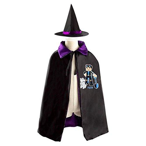 All Saints' Day Witch Mantle Cap Suit Print With TDM/Dan Logo For Kids (Saints Cheerleader Costume Halloween)