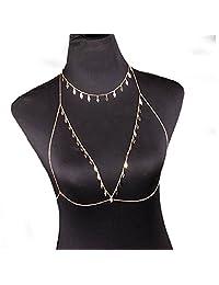 SaiDeng Charm Rhinestone Sexy Bikini Chest Bra Body Chain Body Necklace