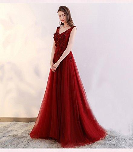 Sptize mit V Ballkleier Perlen Tüll Schwanger für Abendkleider Rot Ausschnitt Langes Elegantes 36 Burgund Größe Bodenlang A Blume Damen Linie qYFcw1z