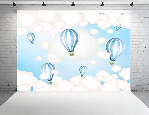 Allenjoy 8x6ft Polyester Hot Air Balloon Backdrop Kids Birthday Party Blue Sky and White Clouds Boy Baby Shower Newborn Photography Background Cake Dessert Table Decoration Banner Photo Studio Props ()