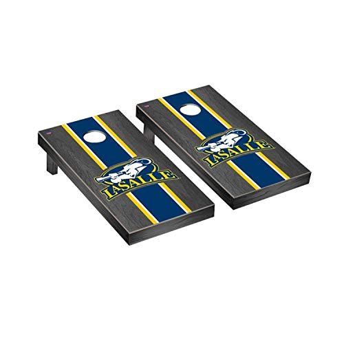 Victory Tailgate Regulation Collegiate NCAA Onyx Stained Stripe Series Cornhole Board Set - 2 Boards, 8 Bags - La Salle Explorers ()
