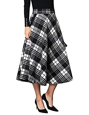 IDEALSANXUN Wool Plaid Skirt Women's Elastic Waist A-line Mid-Calf Skirts with Pocket