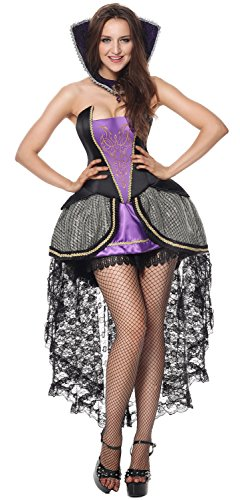 Sibeawen Women's Deluxe Evil Queen Costumes Plus Size Halloweens Costumes Purple Small/Medium]()