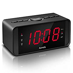 Axmda Digital Dual Alarm Clock with Snooze, Beside Alarm Clock with 4.5 Large LED Display, 3 Brightness Level with Dimmer, FM Radio with Sleep Timer, Backup Battery Function(Battery not Included)