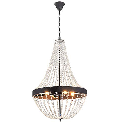 Electro_BP SZBP1711 Modern Metal and Glass Foyer Chandelier With Beads,4 Lights Painted Finish