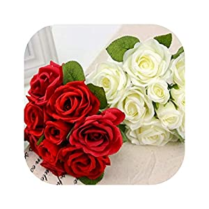 vibe-pleasure Silk Artificial Rose Flowers Bunch Mini Red Rose White Peony Wedding Bridal Home Party Decorations 38