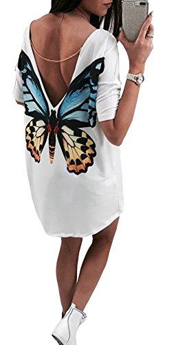 Chain Back Dress (Women Deep V Back Chain Half Sleeve White Tops T-Shirt Dress Casual Blouse Shirts Three Pattern (US8, Butterfly))