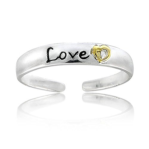 ng Silver Two Tone Love Toe Ring (Two Tone Toe Ring)