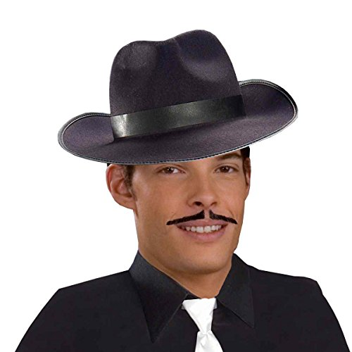 Forum Novelties Men's Human Hair Gangster Mustache, Black, One Size