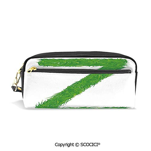 Students PU Pencil Case Pouch Women Purse Wallet Bag Spring Capital Z Made Out of Grass Ladybug Daisy Chamomile Flowers Decorative Waterproof Large Capacity Hand Mini Cosmetic Makeup - Capital Billfold
