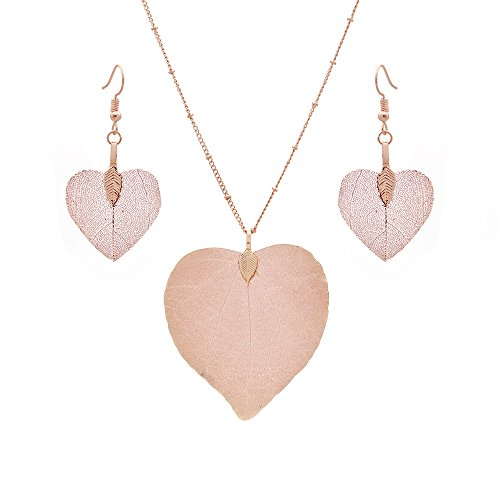 C&L Accessories C&L Real Natural Leaf Earring Necklace Set Heart Nacklace for Women Girls (Heart Rose Gold) by C&L Accessories (Image #1)