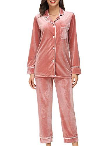 FOBEXISS Women's 2 Piece Velvet Loungewear Button Down Collar Long Sleeve Top Straight Casual Pants