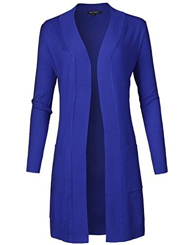 Solid Soft Stretch Long-line Long Sleeve Open Front Knit Cardigan Royal Blue S ()