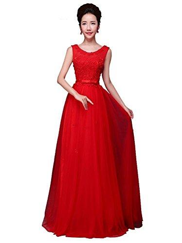 Abend Tunnelzug Kleid Rot Linie langes Liebsten Blumen Maxi Ohne A Emily Beauty Arm PAwRvn0q6A