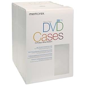 Memorex Slim DVD Video Storage Cases - 25 Pack - Clear