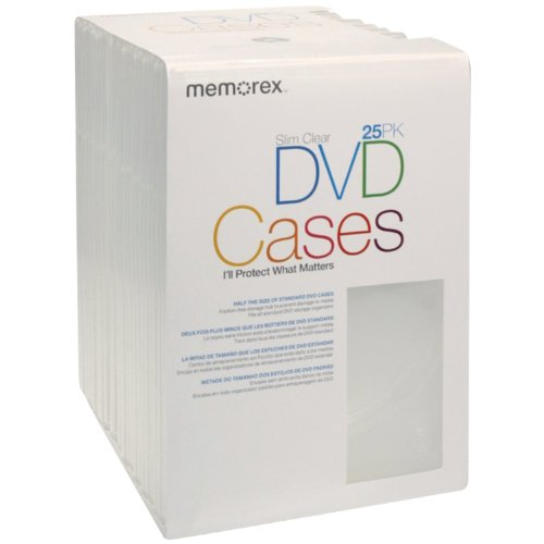 Memorex Cd / Dvd Sleeves - Memorex Slim DVD Video Storage Cases - 25 Pack - Clear