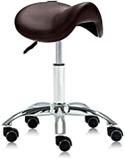 DR.LOMILOMI Hydraulic Saddle Rolling Clinic Spa Massage Stool Chair (506-No Backrest, Brown)