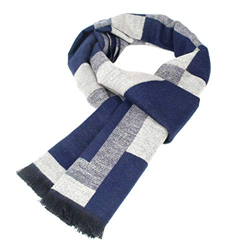 Men Cashmere Plaid Knitted Scarf Soft Warm Cashmere Feel Neckwear Men Business Fine Scarves Blue & Gray by Panegy (Image #6)