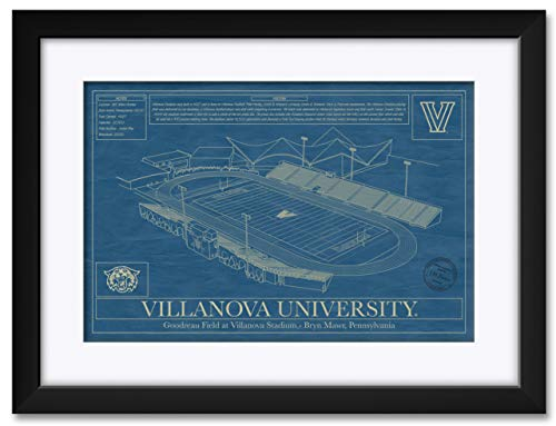 - Northwest Art Mall Villanova Football Stadium Villanova Wildcats Framed & Matted Hand-Drawn by Robert Redding. Print Size: 13