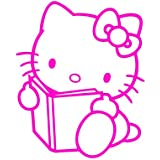"Hello Kitty Book Reading 4"" Tall Decal Sticker for Cars Laptops Tablets Skateboard - Pink"