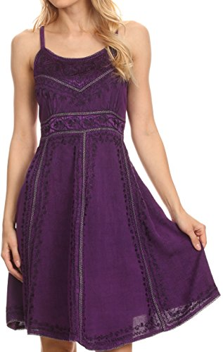 Sakkas 161117 - Markay Short Mid Length Spaghetti Strap Sleeveless Embroidered Batik Dress - Purple - 1X/2X ()