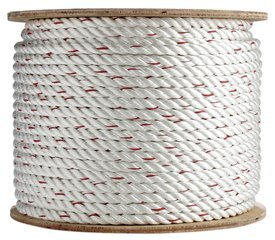 Poly Dacron Rope (3/8 inch) - SGT KNOTS - Twisted 3 Strand Line with Polyolefin Core - Moisture, UV, Chemical, Abrasion & Weather Resistant - Marine, Commercial, Arborist, DIY (600 feet) by SGT KNOTS