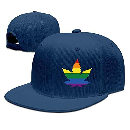Unisex LGBT Gay marihuana Weed Leaf Snapback Flat Cap Peak Fit Hat Navy