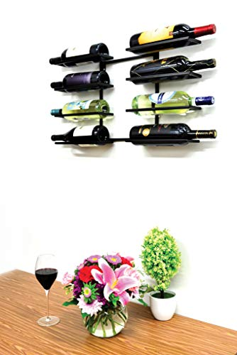 Superiore Livello Verona 8 Bottle Wall Mounted Wine Rack - Decorative Metal Shelf Storage with Modern Rustic Vertical Style in Black for Cellar, Party, Bar, Pantry - Sturdy Support and Rust-Free -