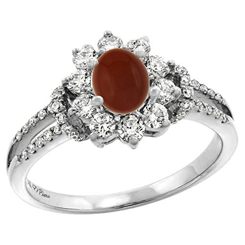 (14k White Gold Diamond Genuine Brown Agate Halo Engagement Ring Oval 7x5mm, size 6 )